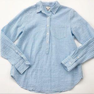 J Crew Popover Shirt Stripes Women's Size S